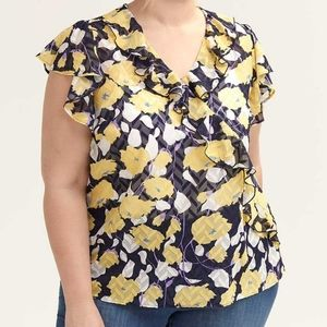 d/C Jeans   Short Sleeve Wrap Blouse with Ruffles